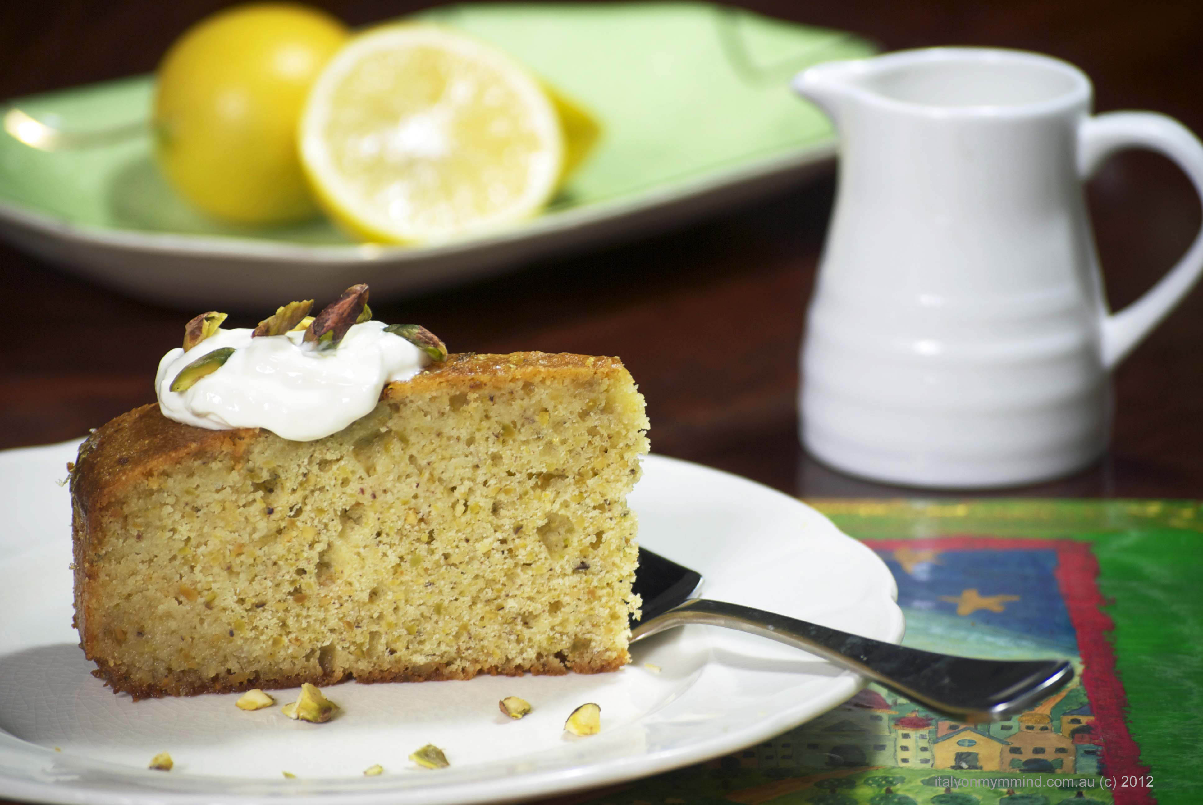 Lemon, semolina and pistachio syrup cake