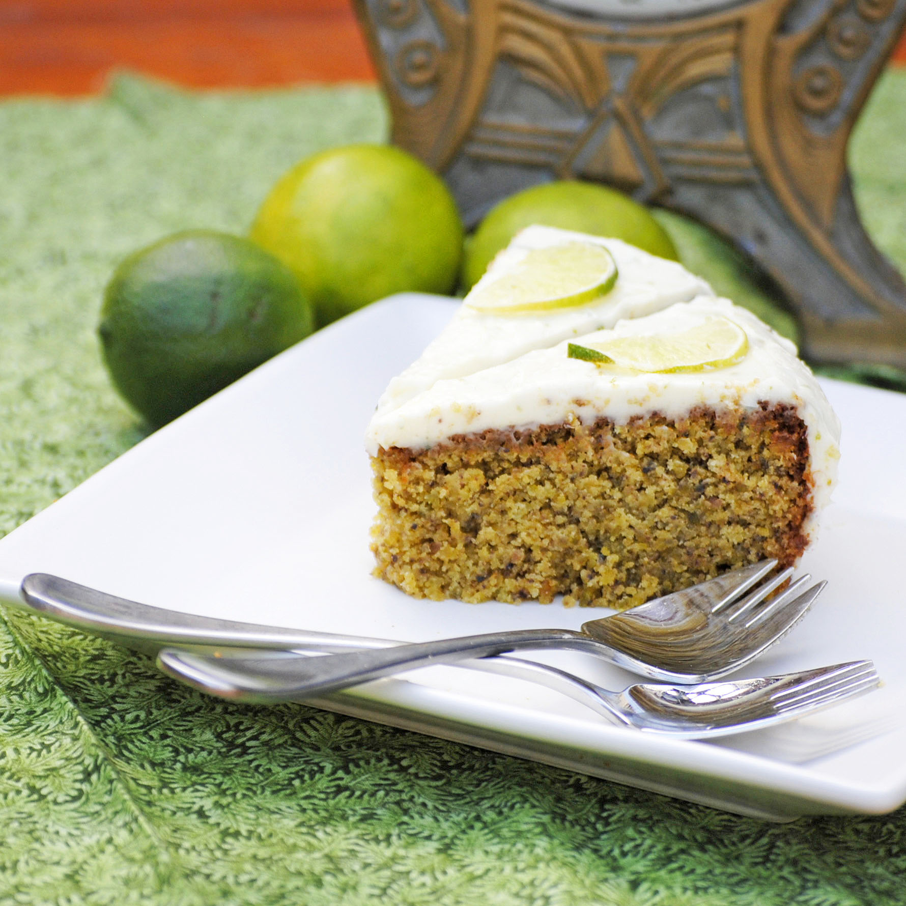 two pistachio and lime cake
