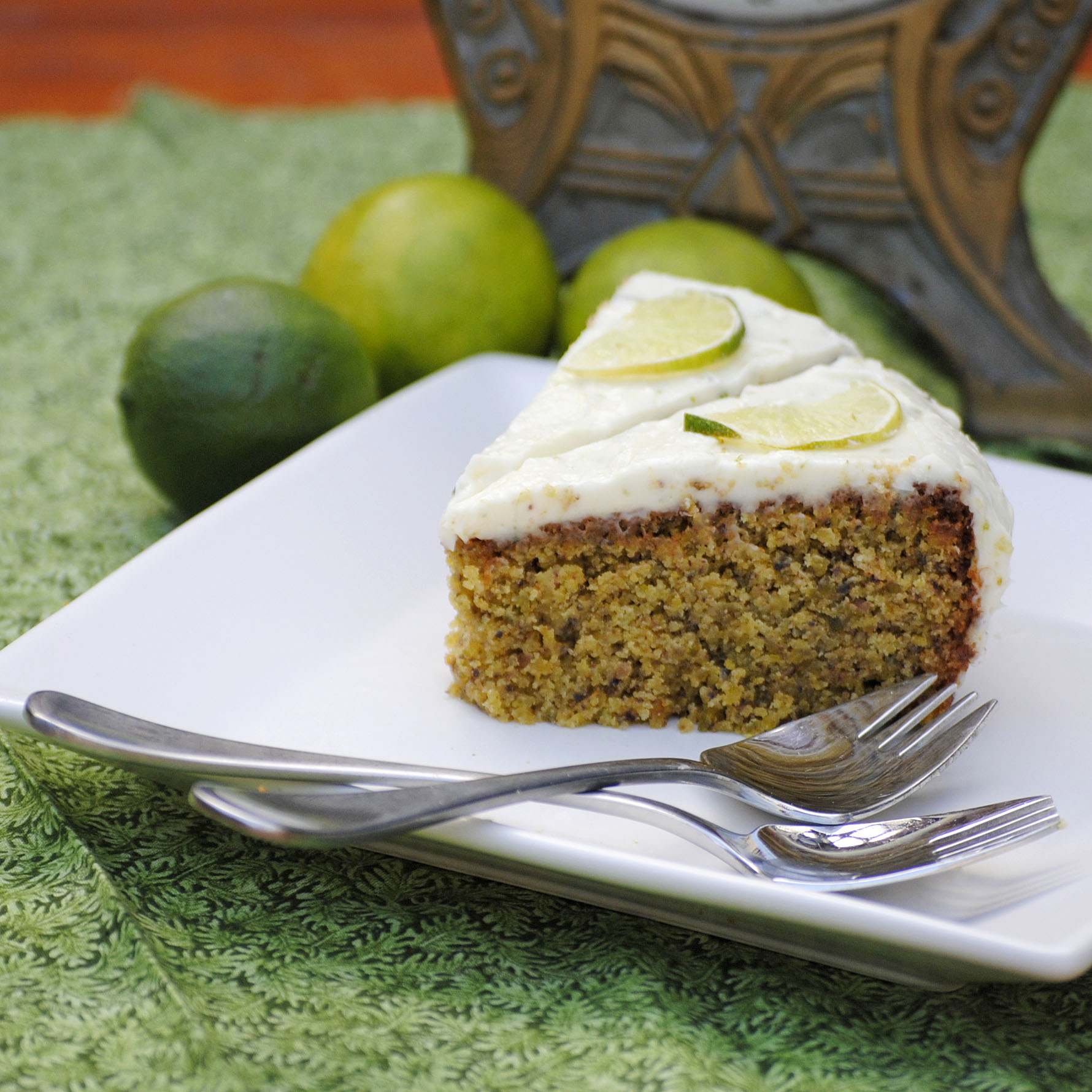 Flourless lime and pistachio cake