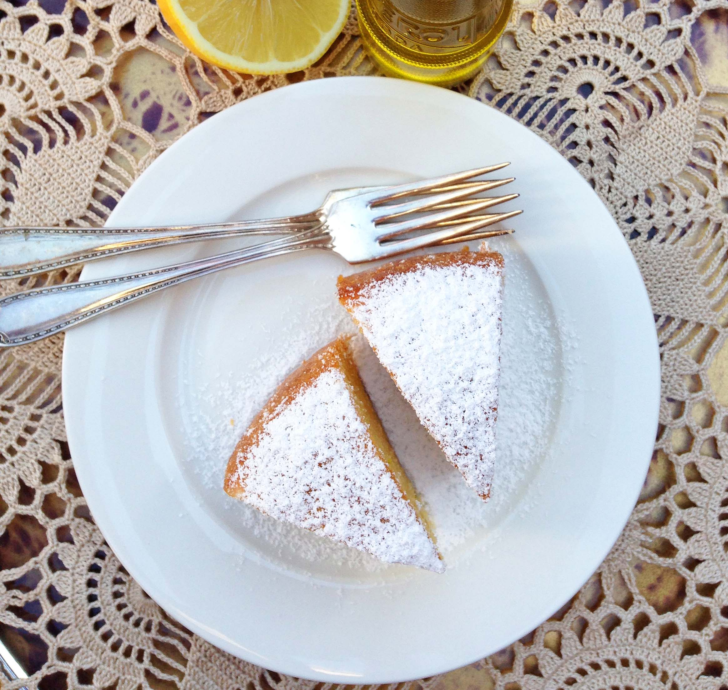 olive oil and lemon cake aerial
