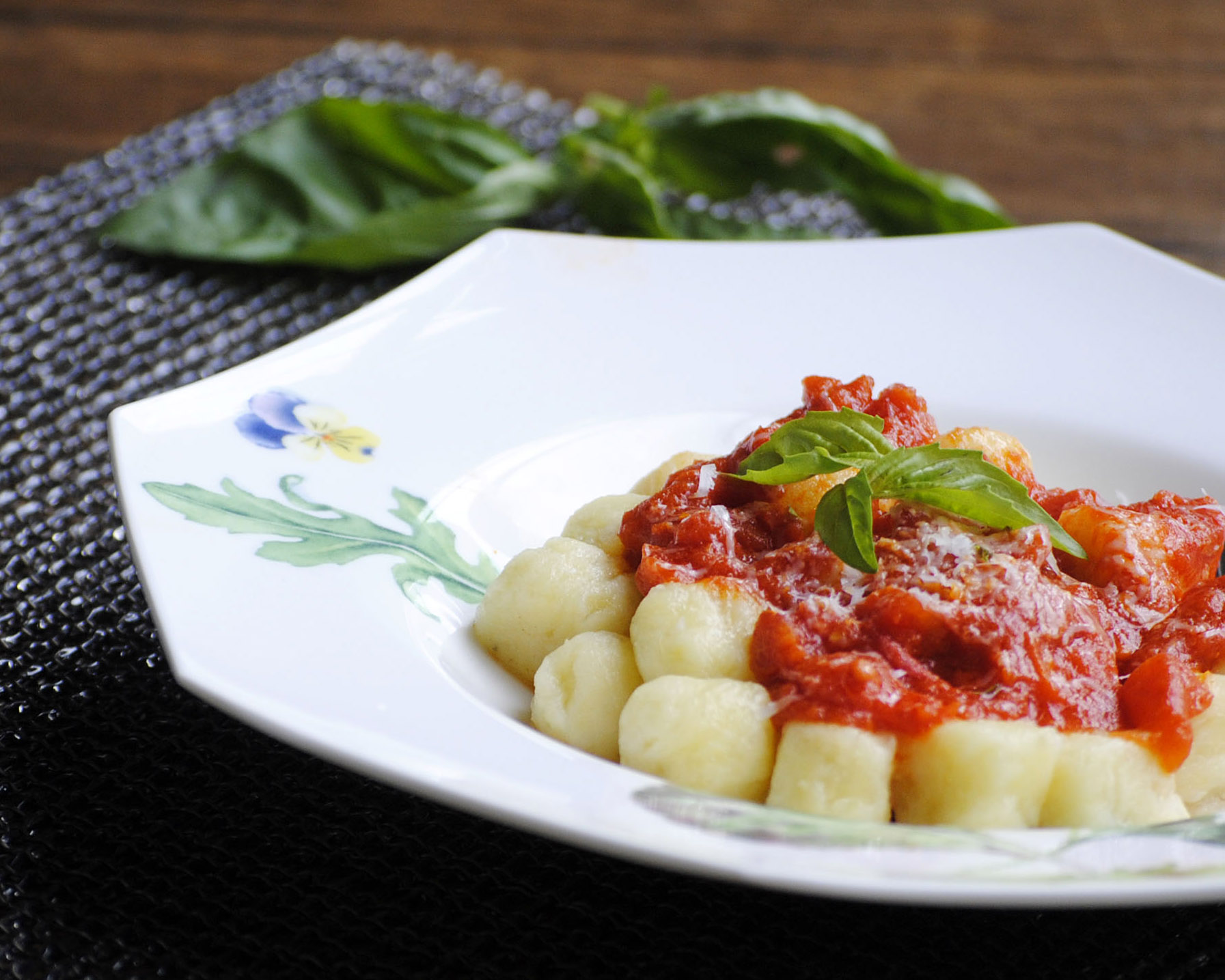 Gluten free potato gnocchi with a simple tomato basil sauce