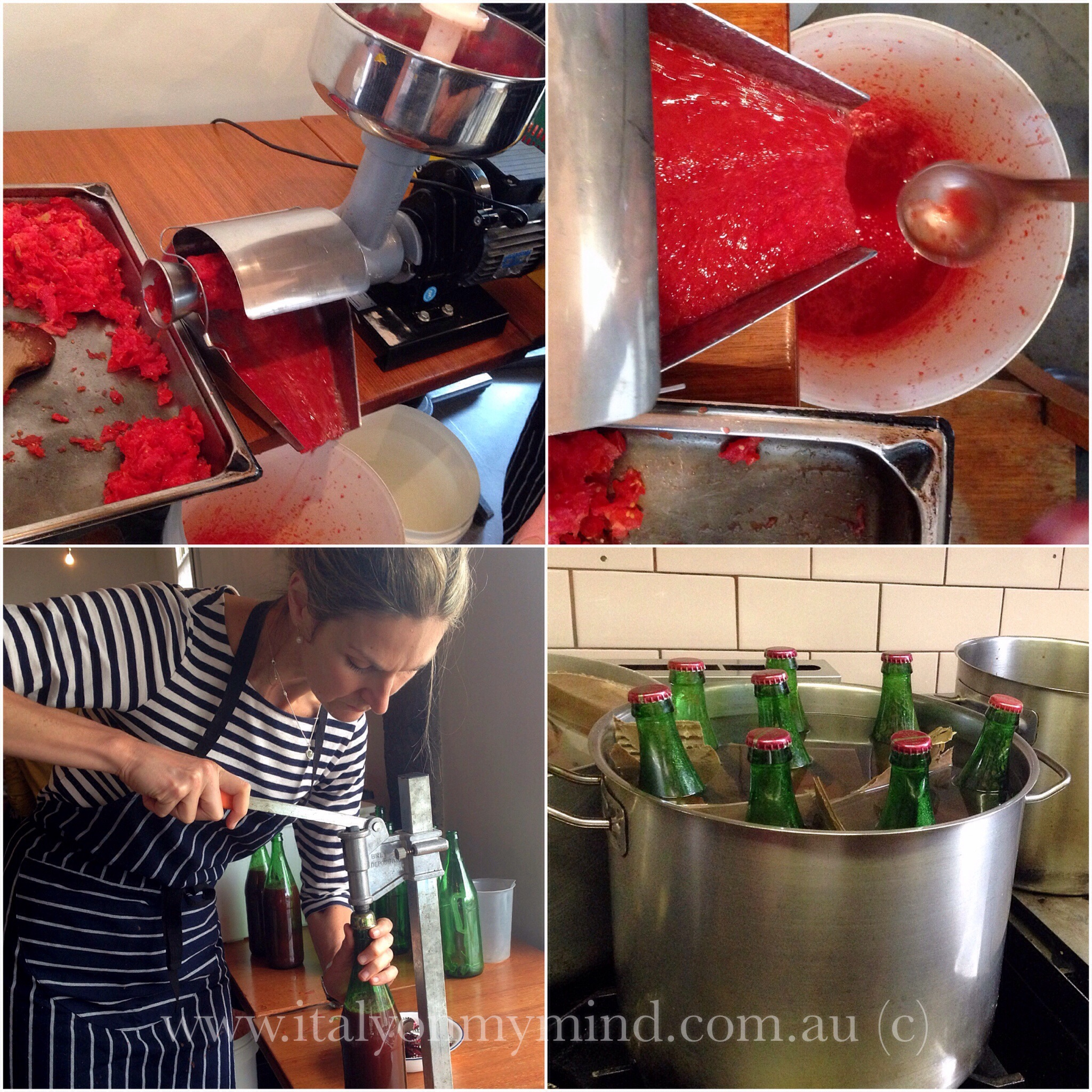 Tomato passata making at Bar Idda