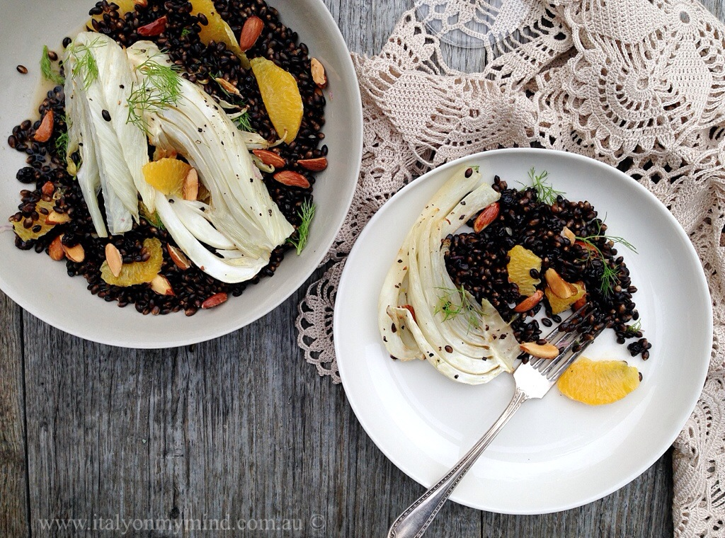 A feast of oranges part 1 – roasted fennel, black barley, almond and orange salad