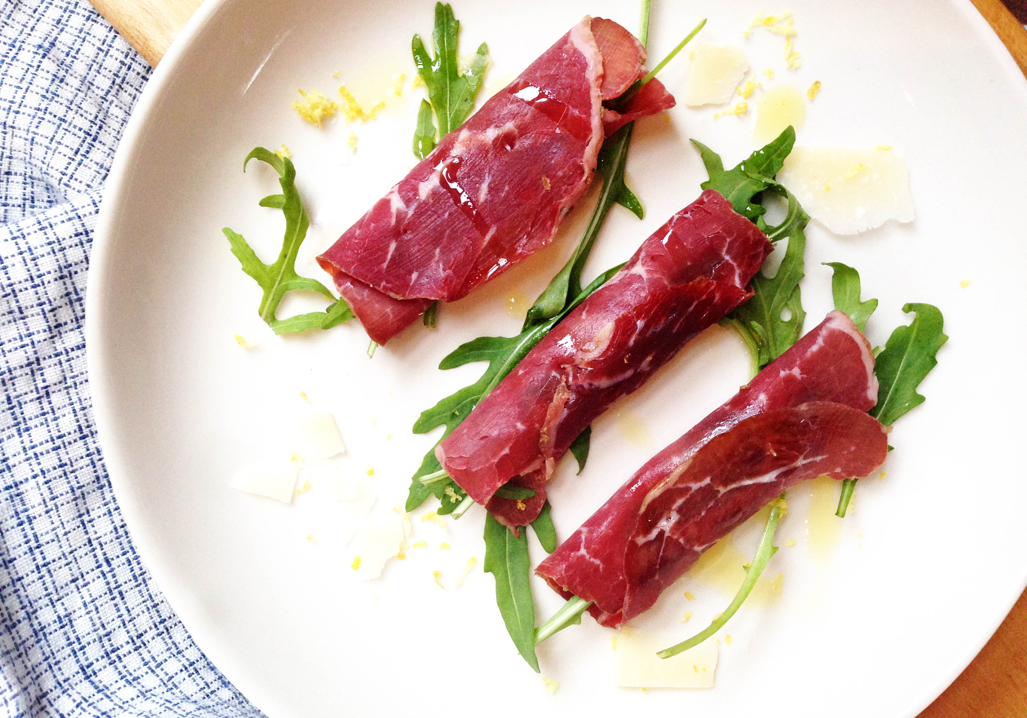 bresaola rocket and parmesan cichetti-italy on my mind