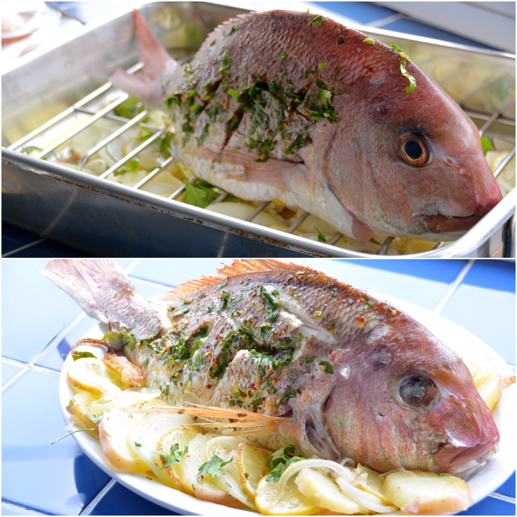 Whole Baked Snapper With Chilli And Oregano