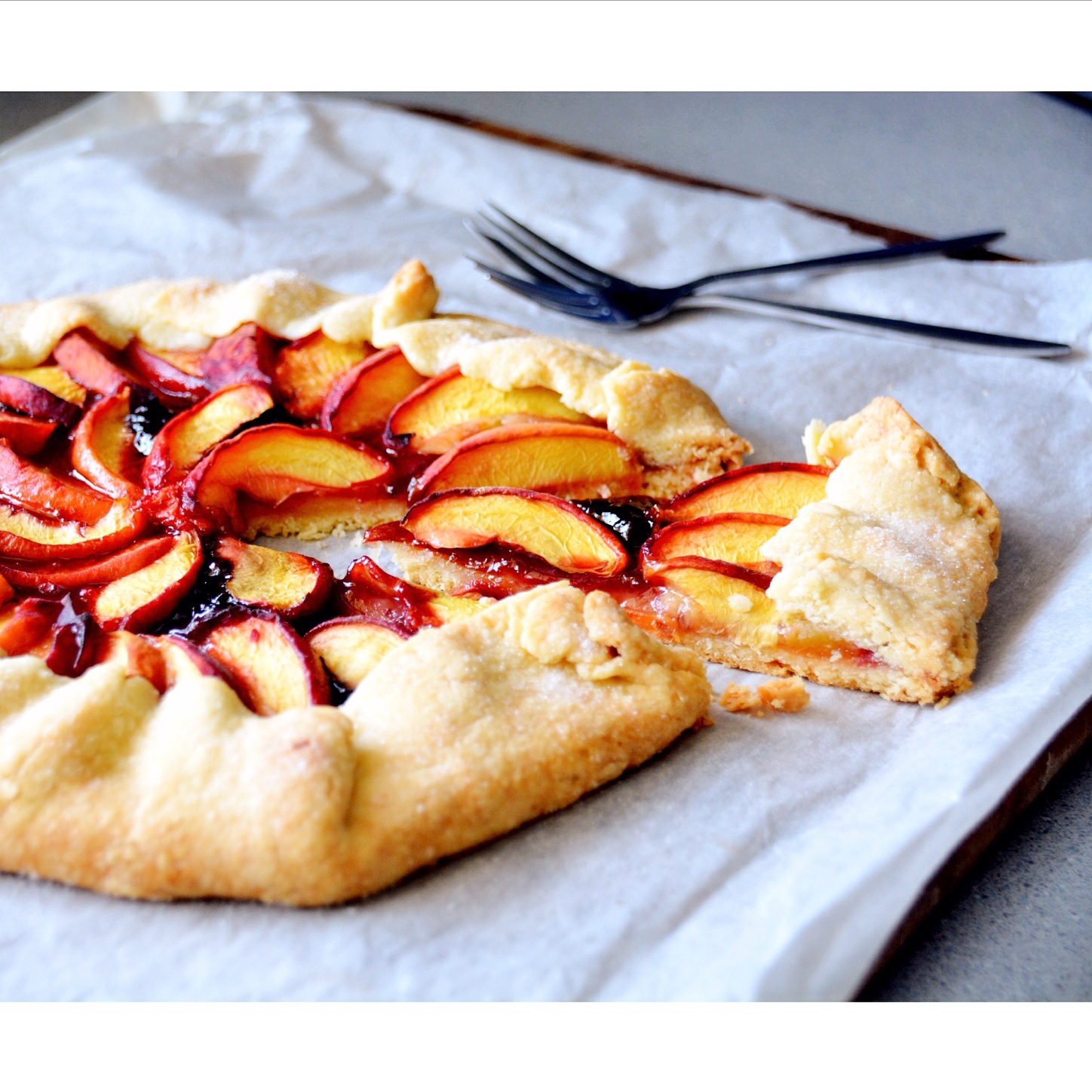 Free form peach tart