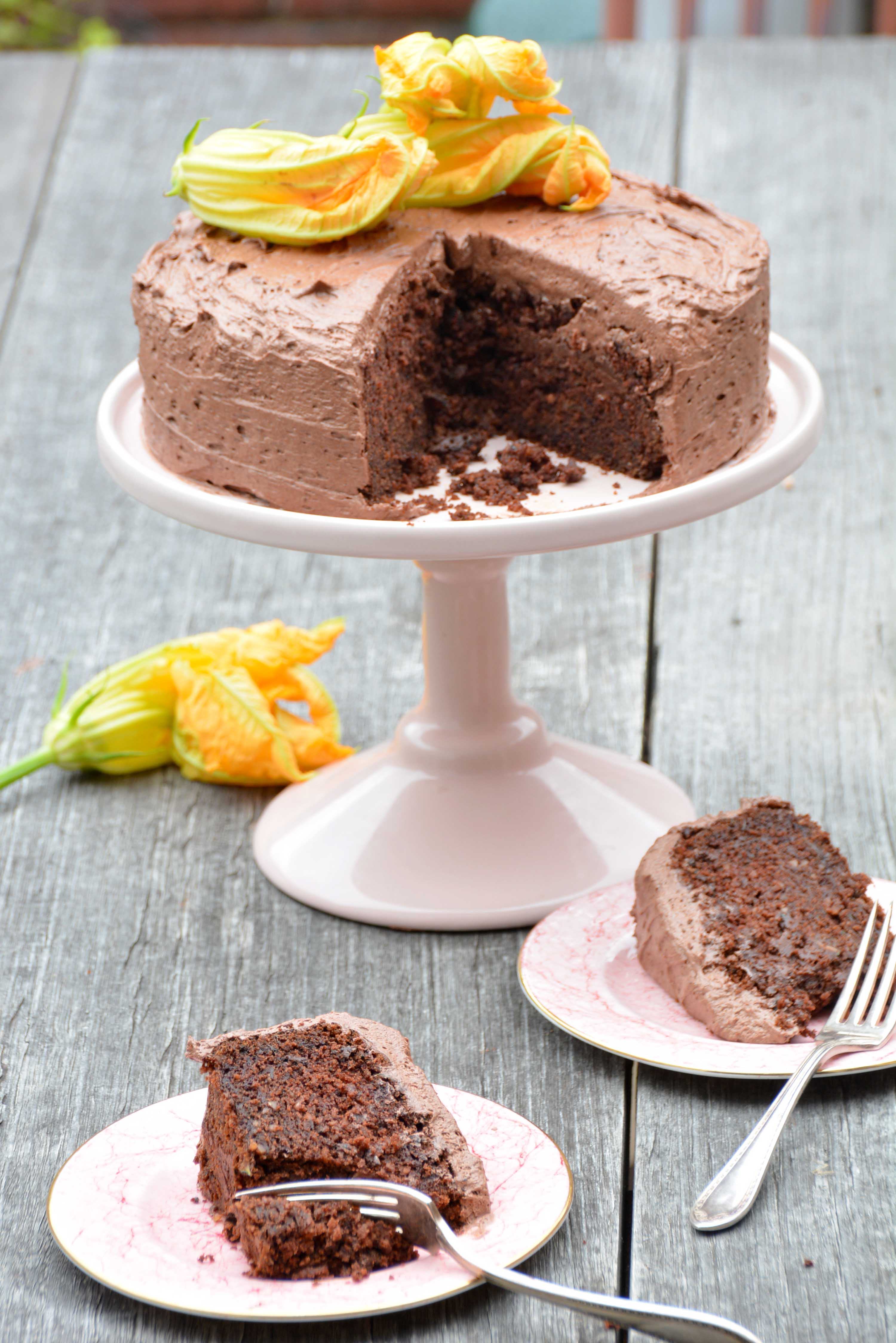 two slices zucchini chocolate cake gluten free-italy on my mind-best italian food blog