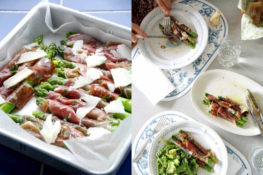 at the table-asparagus and prosciutto-italy on my mind