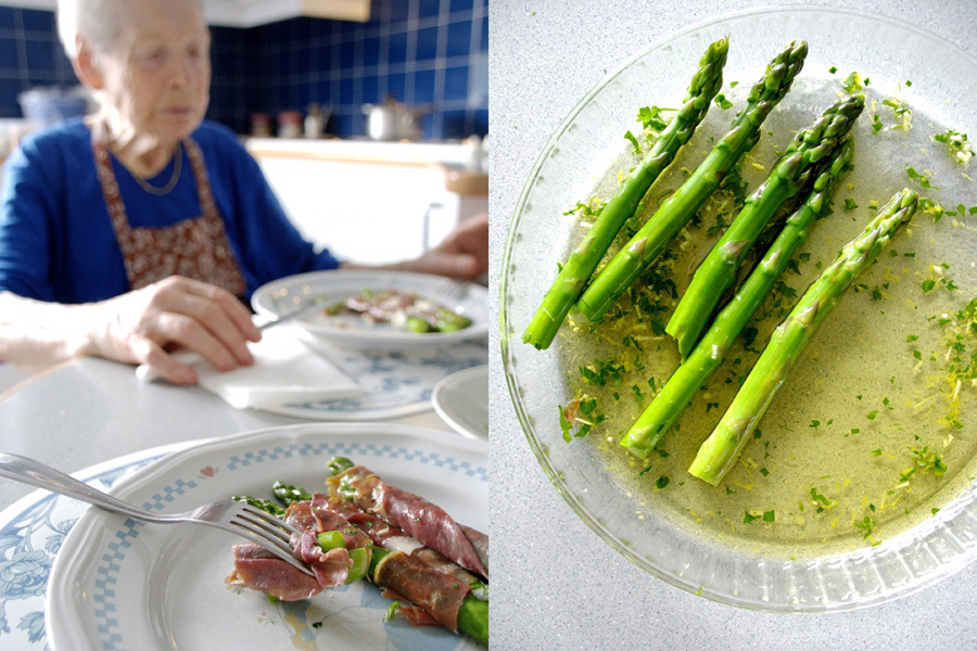 eating asparagus and prosciutto-mamma-italy on my mind