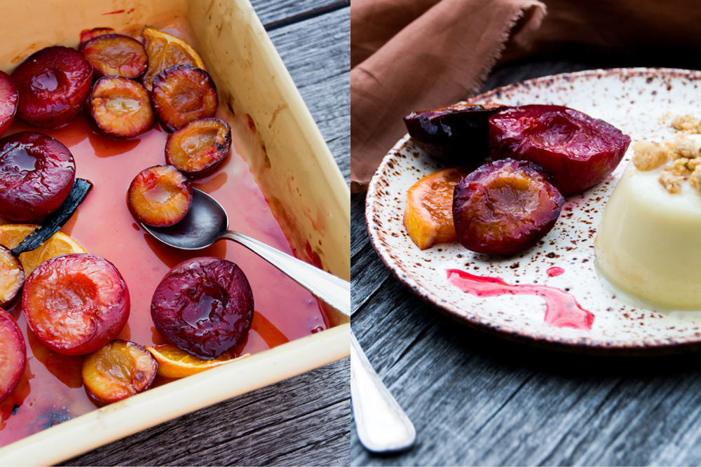 white choc pannacotta and roasted plums - italy on my mind