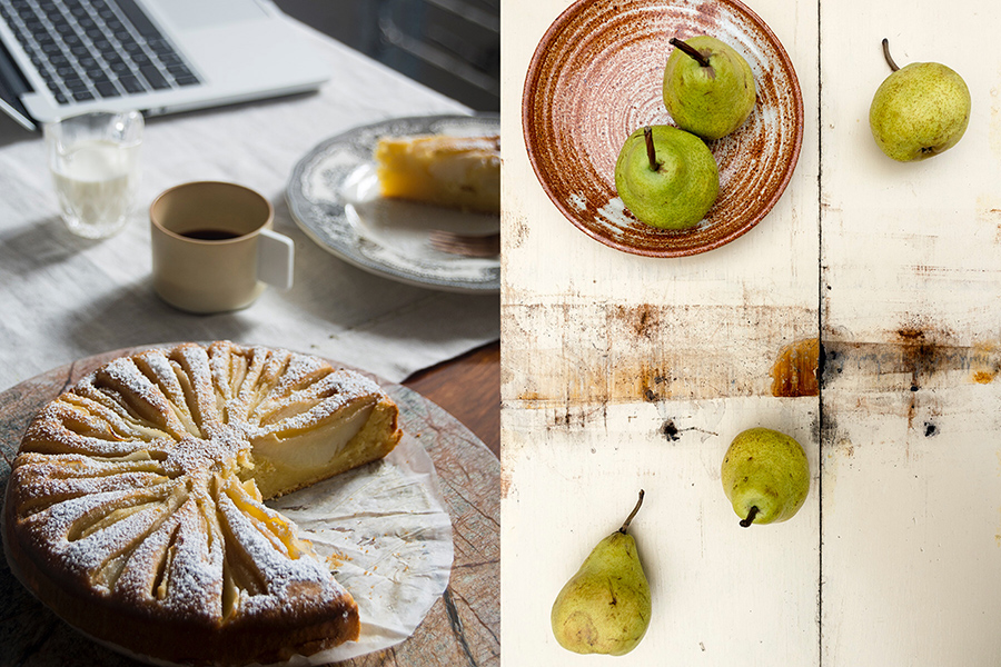 breakfast pear cake-laptop-italy on my mind
