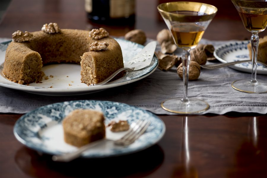 Walnut cake with orange and brandy