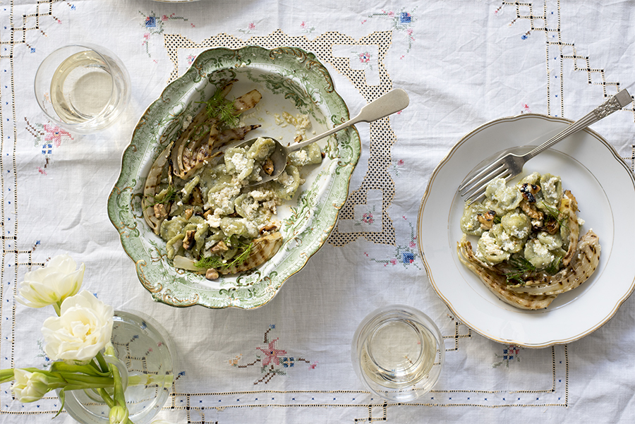 Green orecchiette with fennel, ricotta and walnuts
