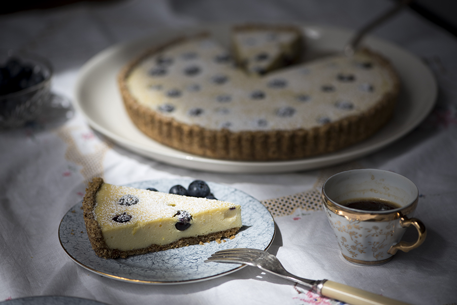 Roasted almond tart with ricotta and blueberries