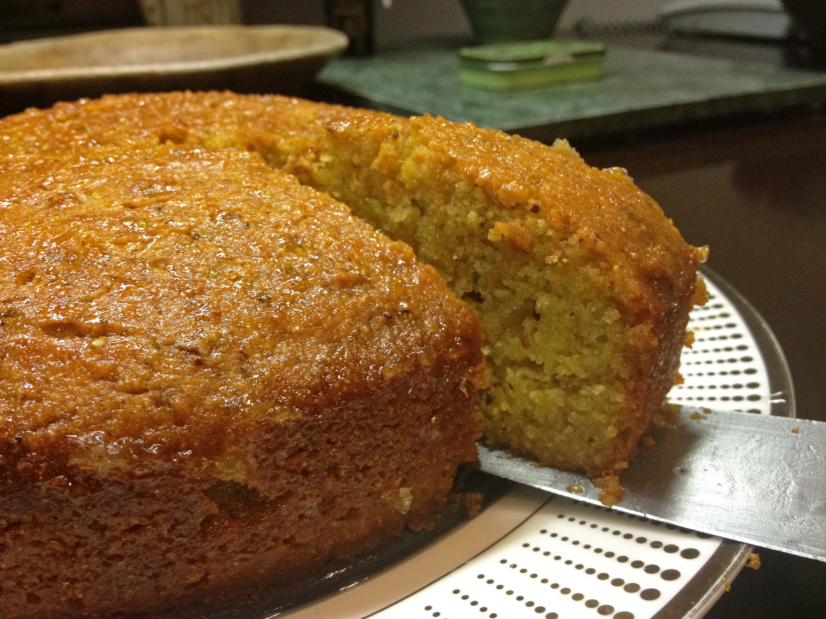 In Celebration Of The Lemon Tree I Made A Semolina And Pistachio Cake Drenched Syrup Has Sweet Citrus Tang Is Dense