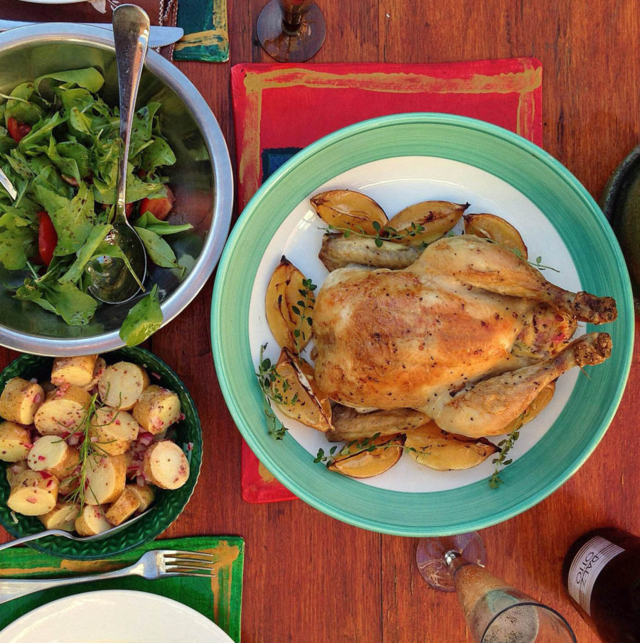 Pollo ripieno con limone e timo (stuffed roast chicken with lemon and thyme)
