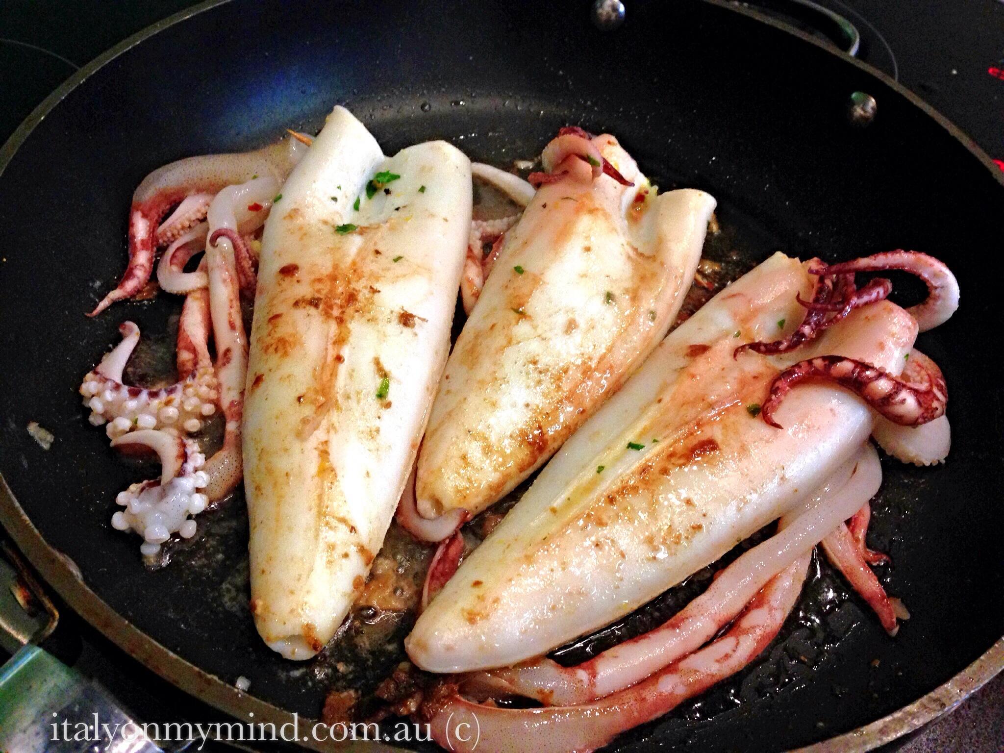 Stuffed squid with pancetta and fennel (calamari farciti)
