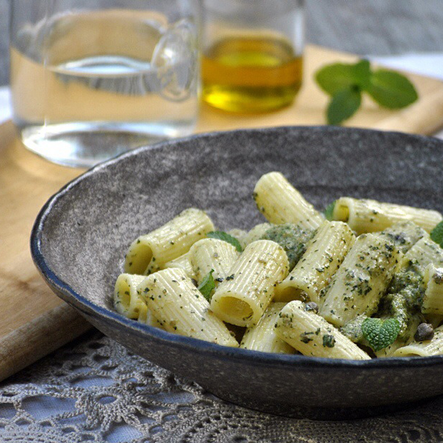 italy on my mind-caper and minto pesto with rigatoni