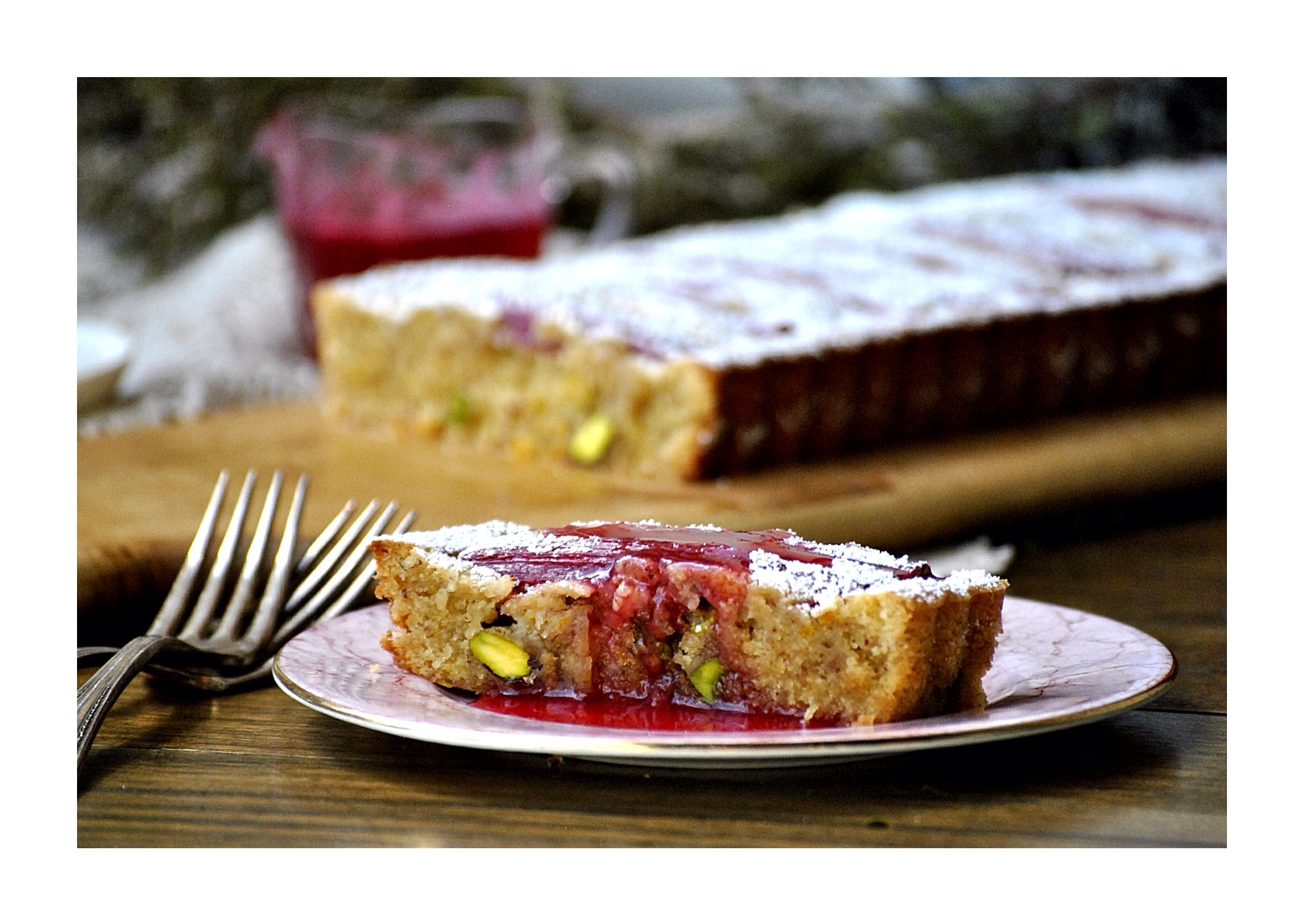 Rhubarb, pistachio and orange tart