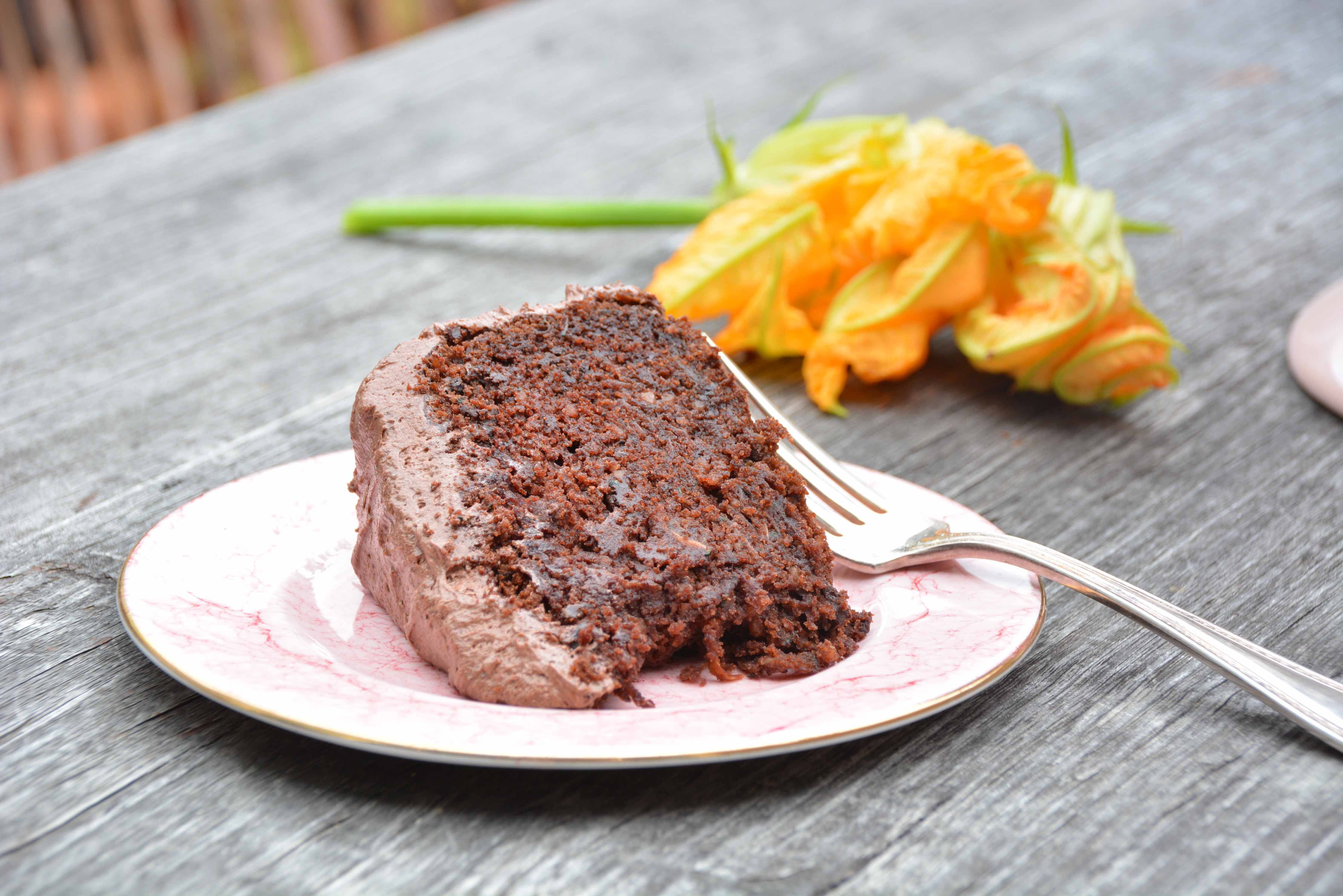 slice of zucchini chocolate cake gluten free close up-italy on my mind-best italian food blog