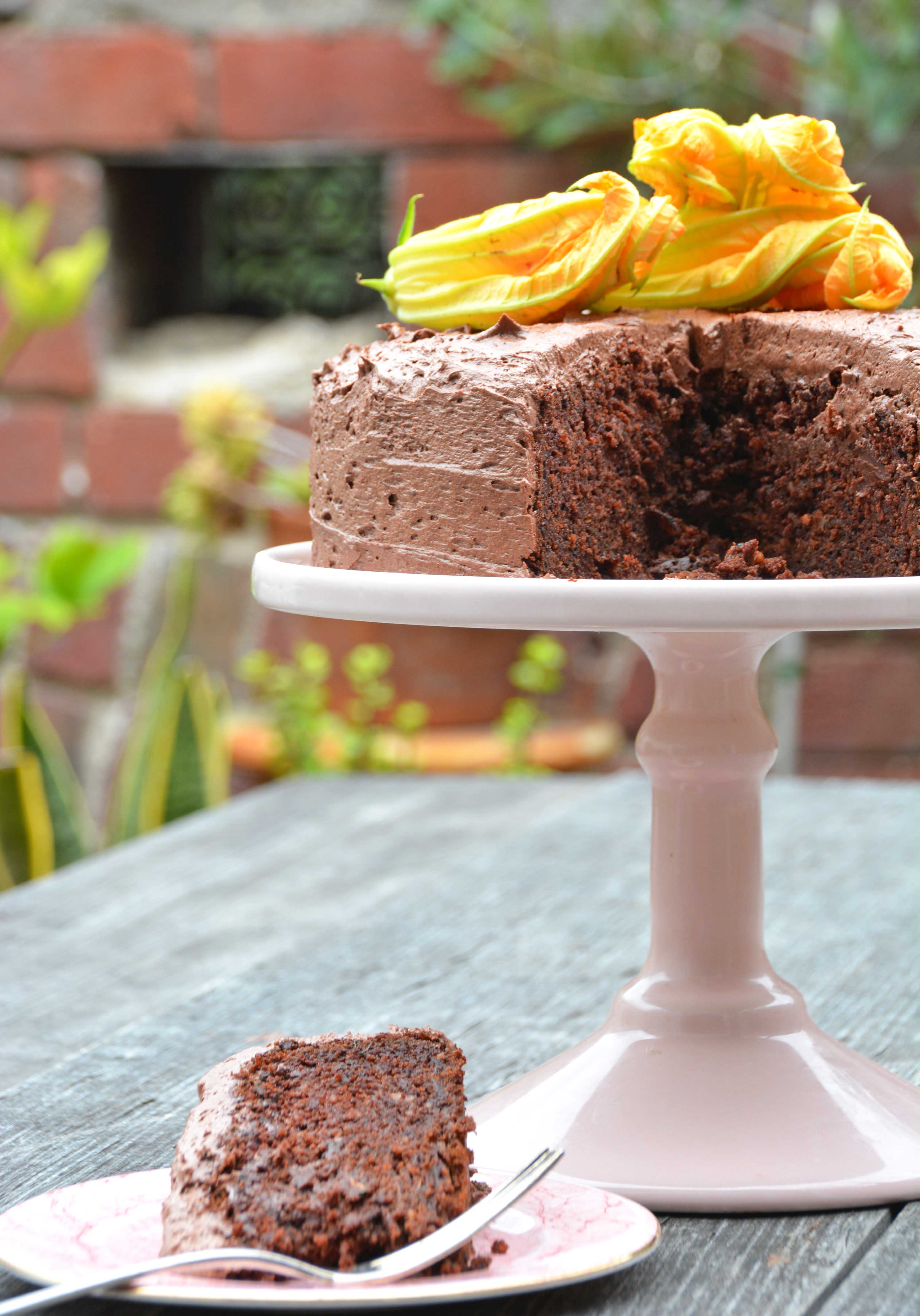 slice of zucchini chocolate cake gluten free-italy on my mind-best food blog