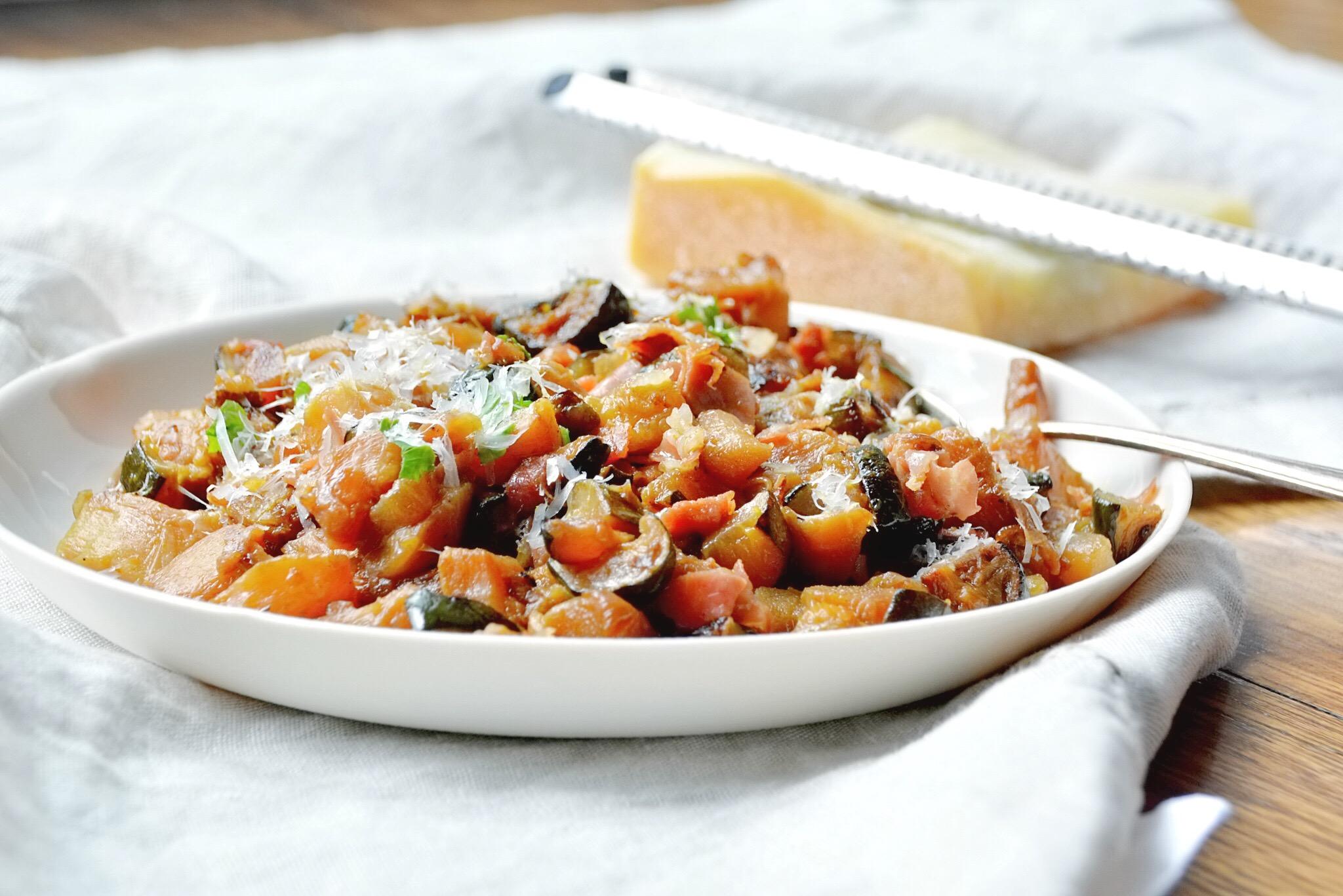 Zucchine al prosciutto di Livia- braised zucchini with prosciutto