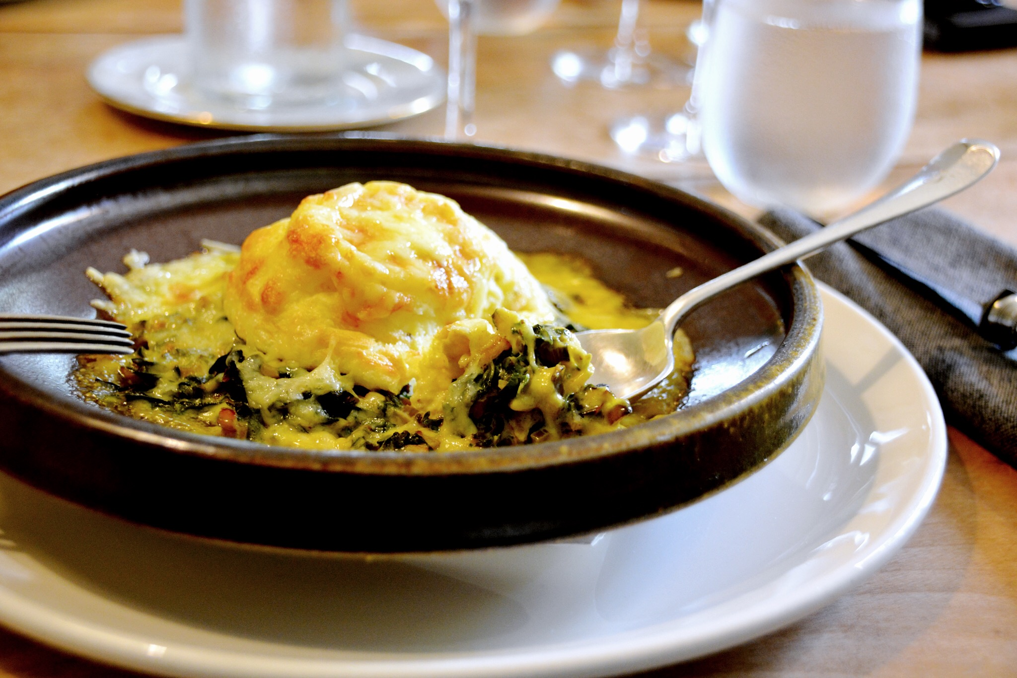 Soufflé di formaggio – twice baked cheese soufflé with chard