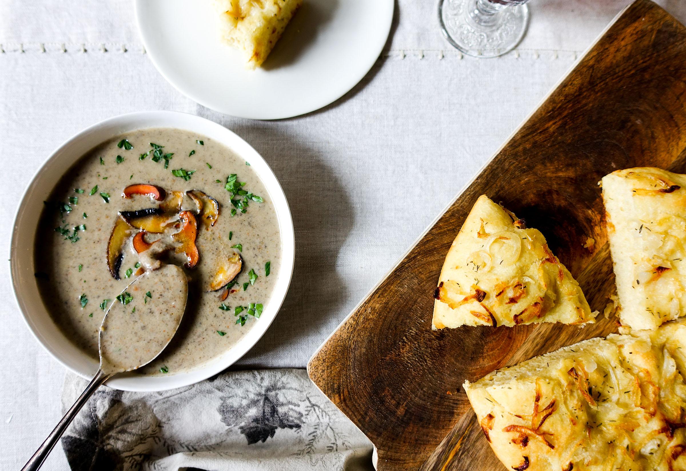 Mushroom and potato soup with cipolline onion focaccia – zuppa di funghi e patate con focaccia alle cipolline