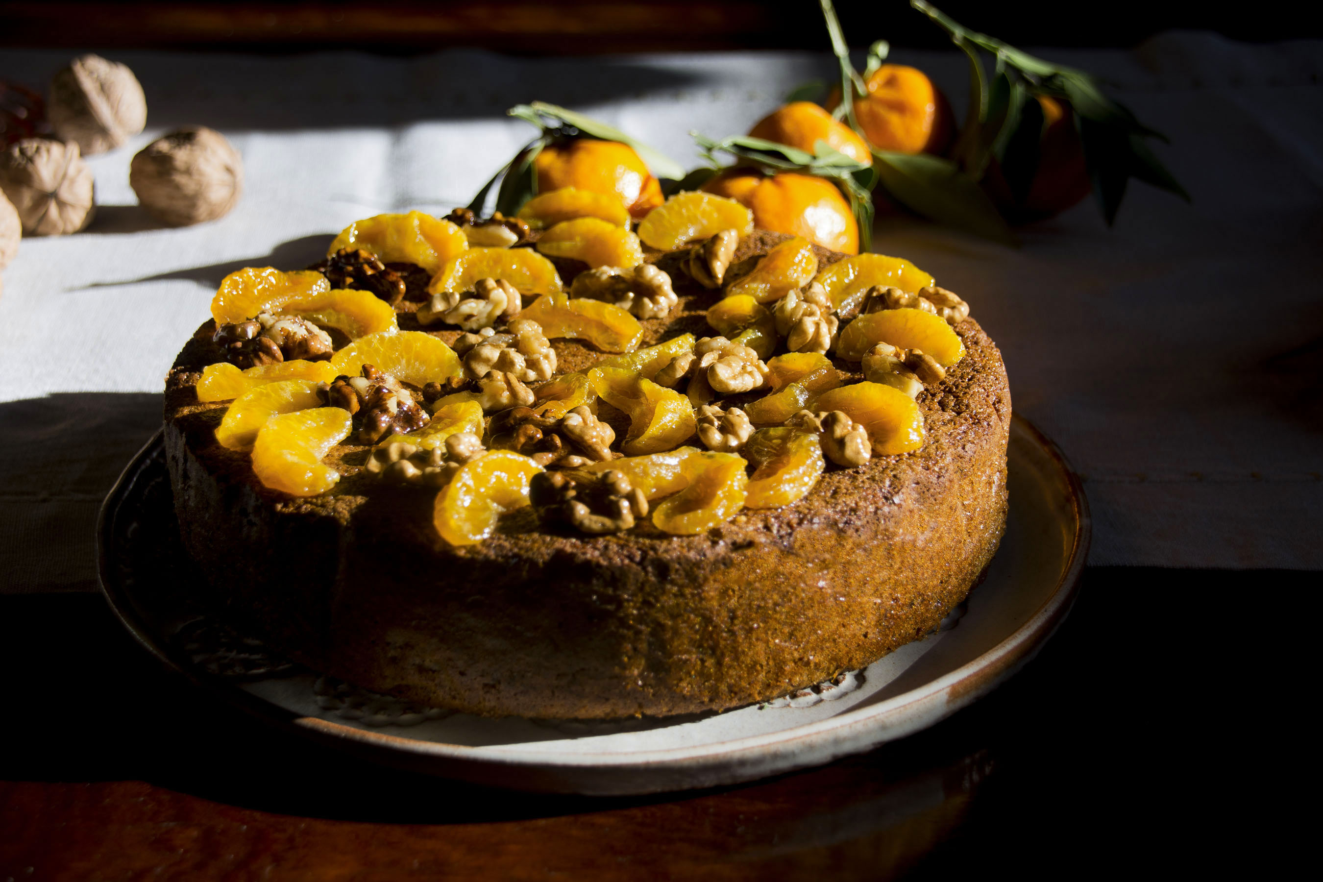 Tangerine, walnut and dark chocolate flourless torta