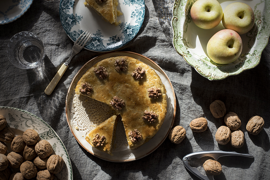 Apple and walnut layer cake